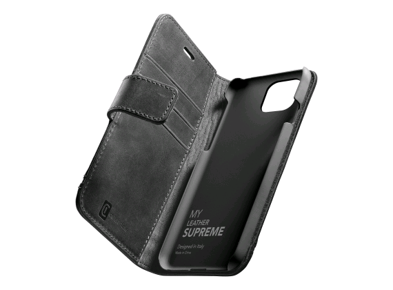Cellularline - iPhone 12/12 Pro book Supreme zwart leder